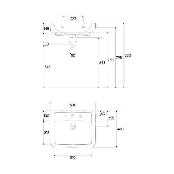umywalka prostok tna renova nr 1 plan 60 cm z otworem z. Black Bedroom Furniture Sets. Home Design Ideas