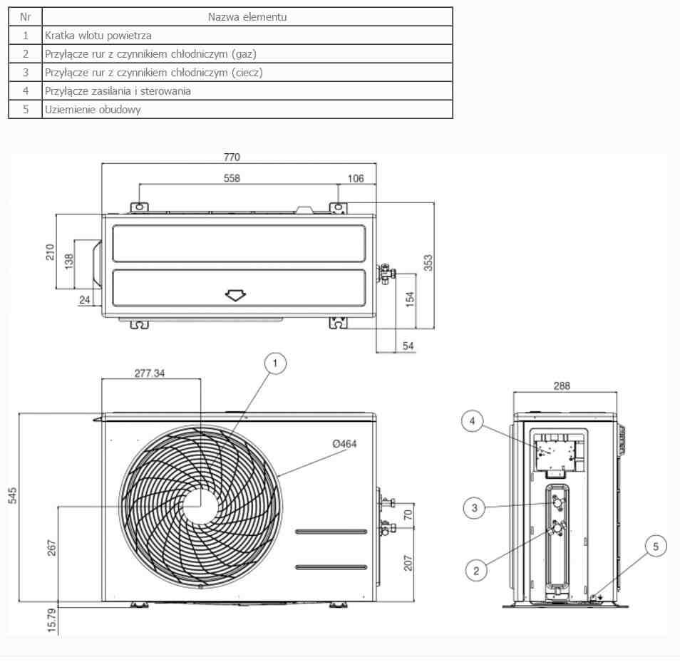Dane techniczne klimatyzator LG Artcool