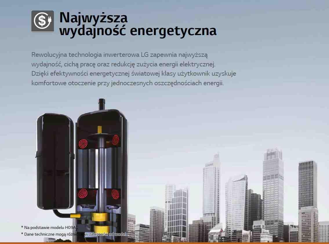 Rewolucyjna technologia inwerterowa LG zapewnia najwyższą wydajność, cichą pracę oraz redukcję zużycia energii elektrycznej. Dzięki efektywności energetycznej światowej klasy użytkownik uzyskuje komfortowe otoczenie przy jednoczesnych oszczędnościach energii.