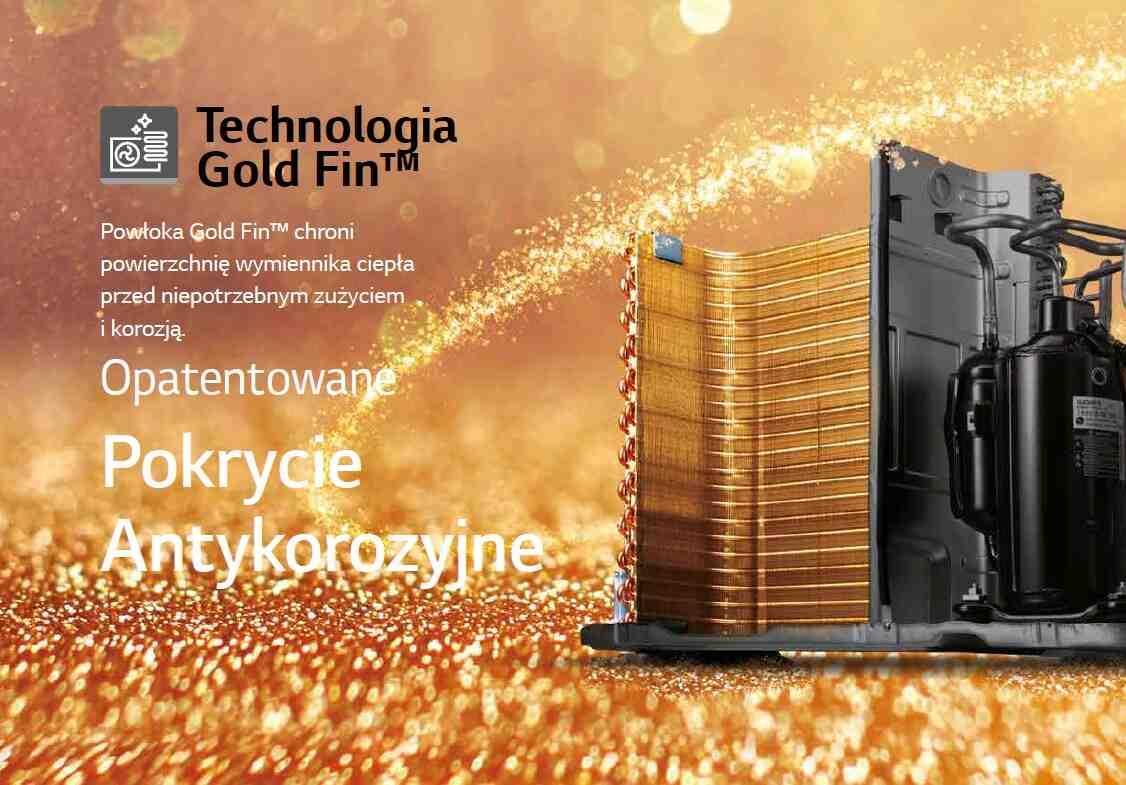 Powłoka Gold Fin™ chroni powierzchnię wymiennika ciepła przed niepotrzebnym zużyciem i korozją.