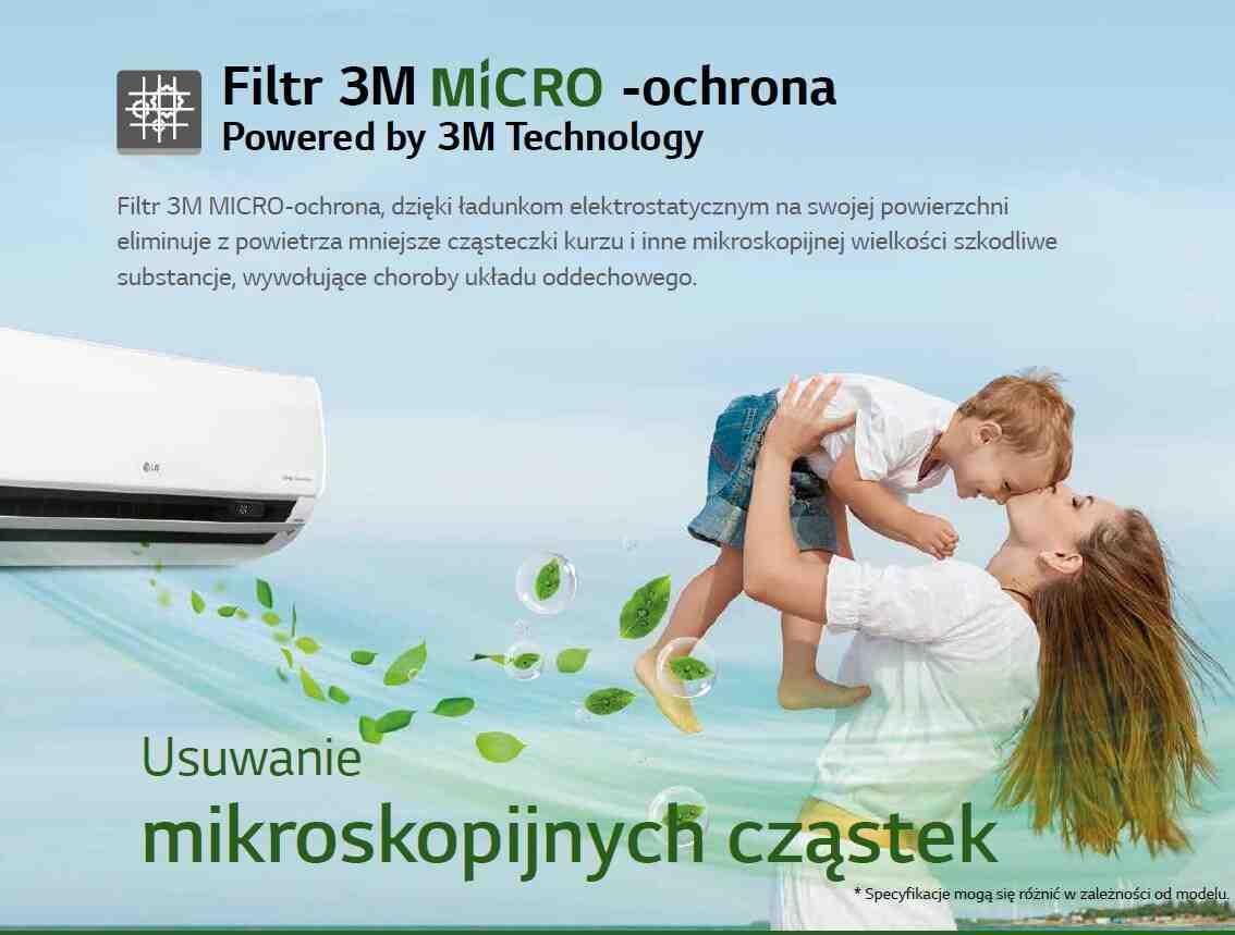 Filtr 3M MICRO-ochrona, dzięki ładunkom elektrostatycznym na swojej powierzchni eliminuje z powietrza mniejsze cząsteczki kurzu i inne mikroskopijnej wielkości szkodliwe substancje, wywołujące choroby układu oddechowego.