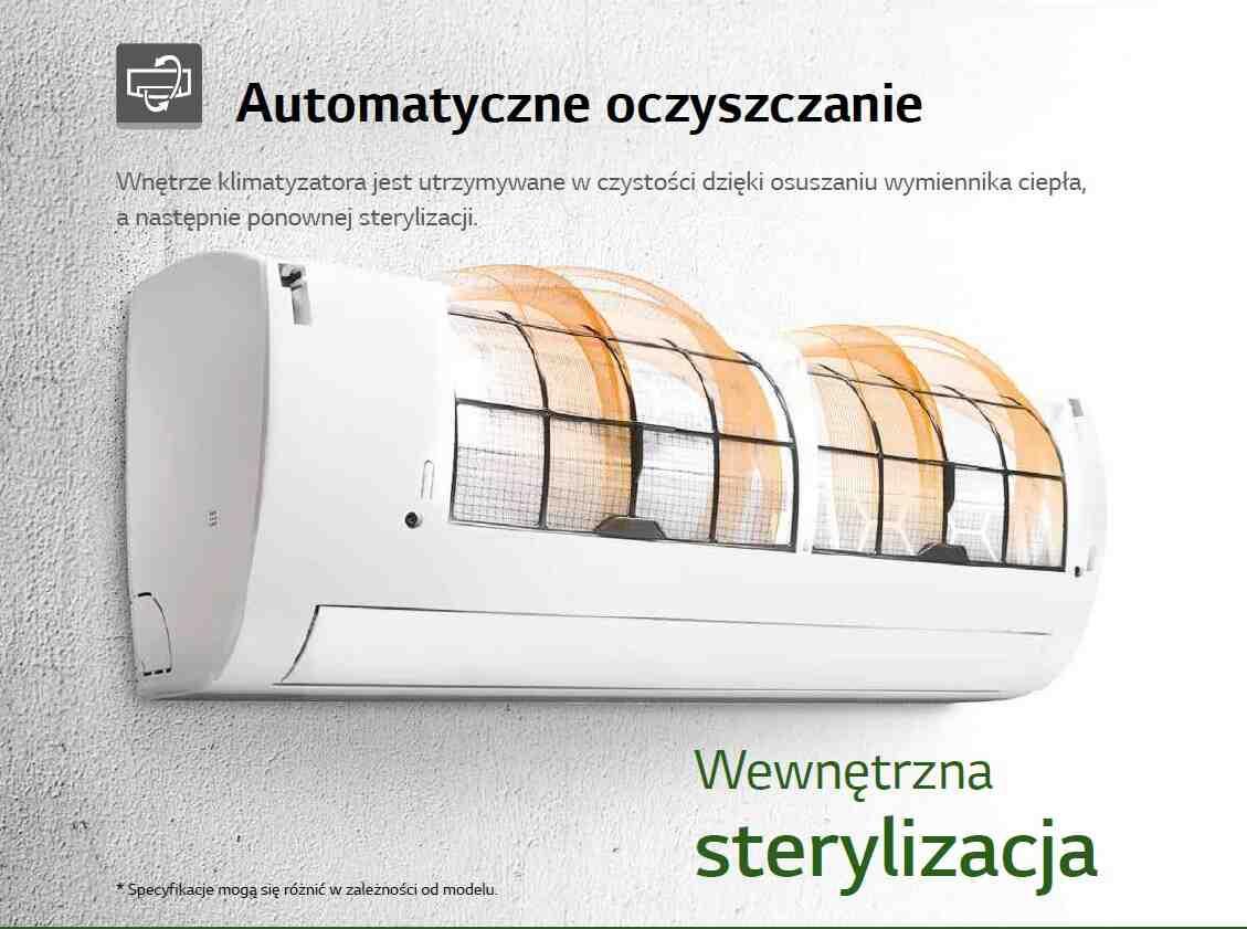 Wnętrze klimatyzatora jest utrzymywane w czystości dzięki osuszaniu wymiennika ciepła, a następnie ponownej sterylizacji
