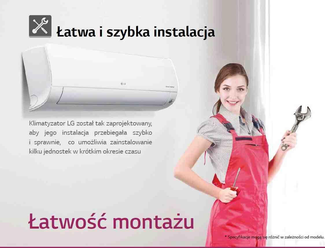 Klimatyzator LG został tak zaprojektowany, aby jego instalacja przebiegała szybko i sprawnie, co umożliwia zainstalowanie kilku jednostek w krótkim okresie czasu