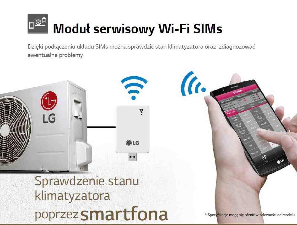 Dzięki podłączeniu układu SIMs można sprawdzić stan klimatyzatora oraz zdiagnozować ewentualne problemy.