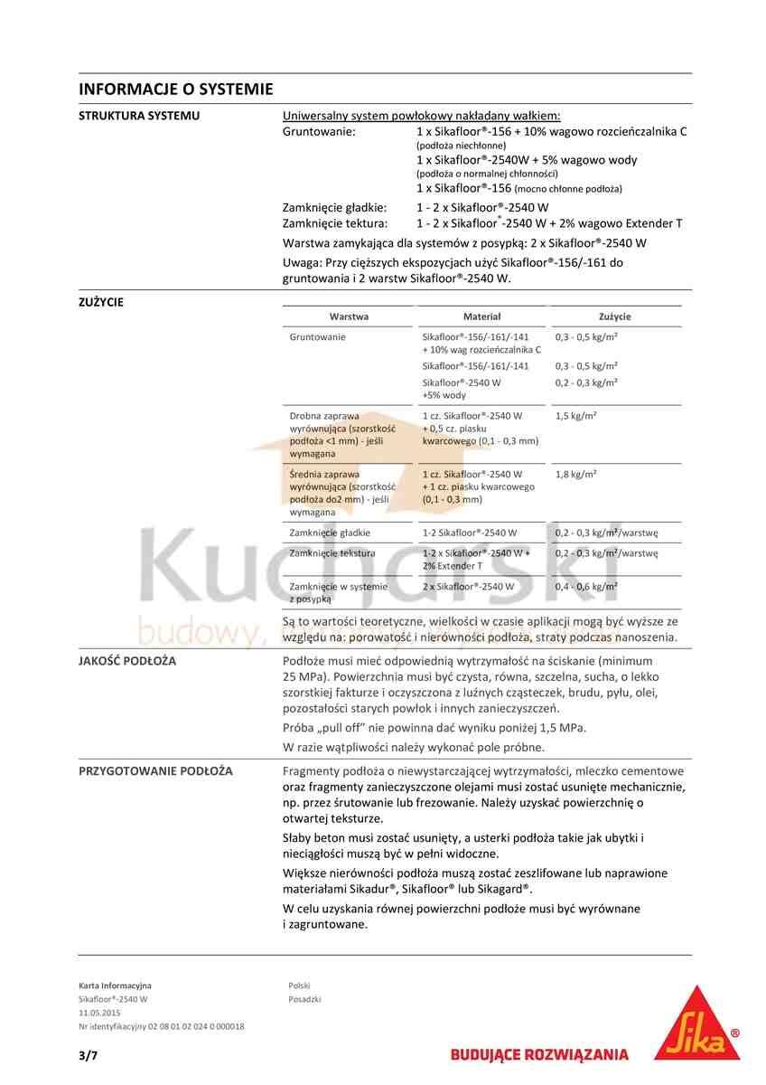 Karta techniczna sikafloor 2540