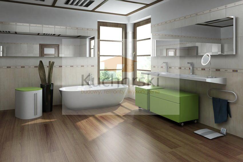 Nowoczesna łazienka A Posadzka Z Płytek Imitujących Drewno