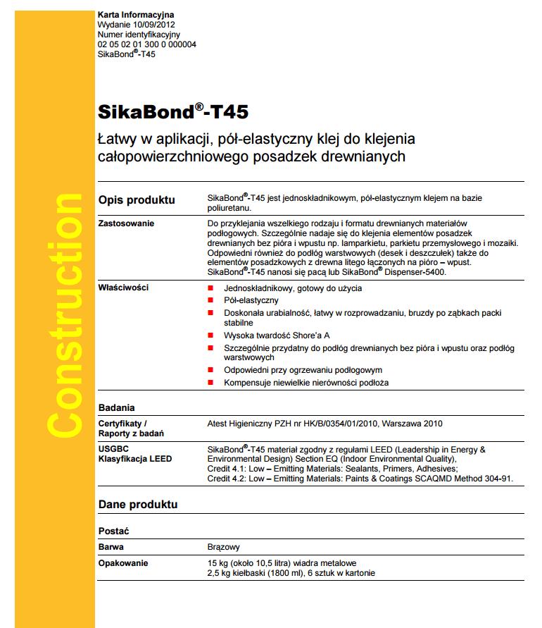 Karta techniczna T45