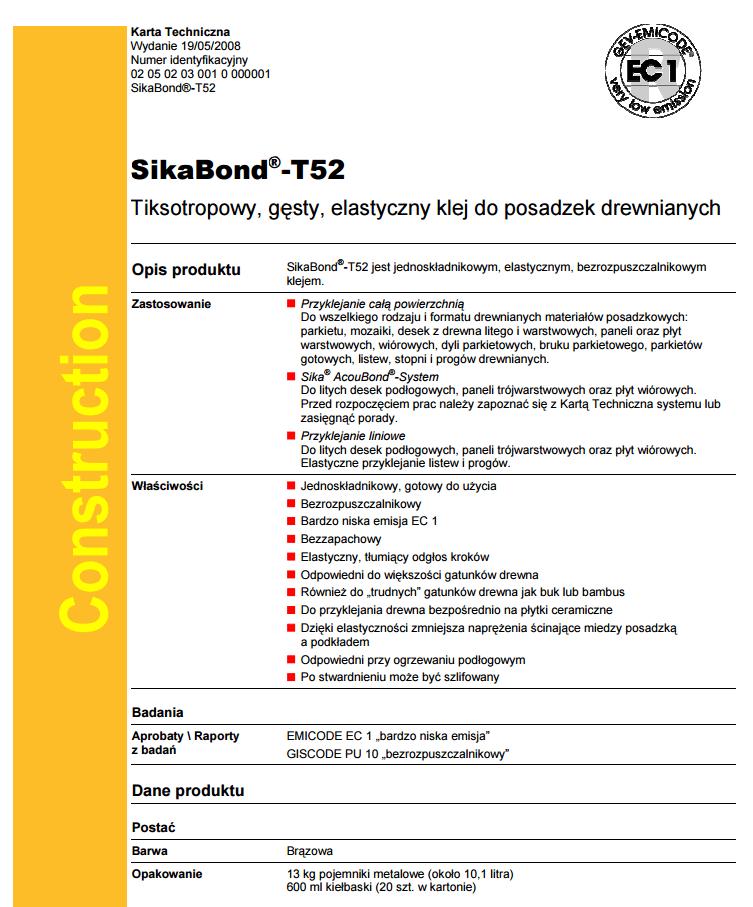 Karta techniczna T52