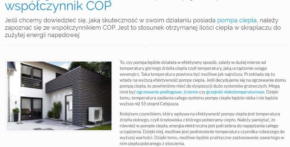 Jak wygląda efektywność pompy ciepła – współczynnik COP