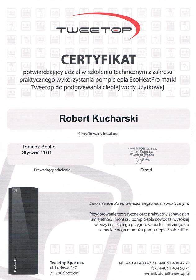 Certyfikat autoryzowanego instalatora Tweetop