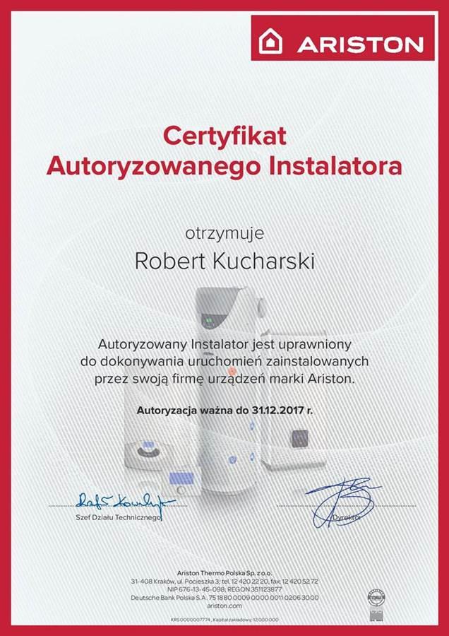 Ariston – Certyfikat Autoryzowanego Instalatora