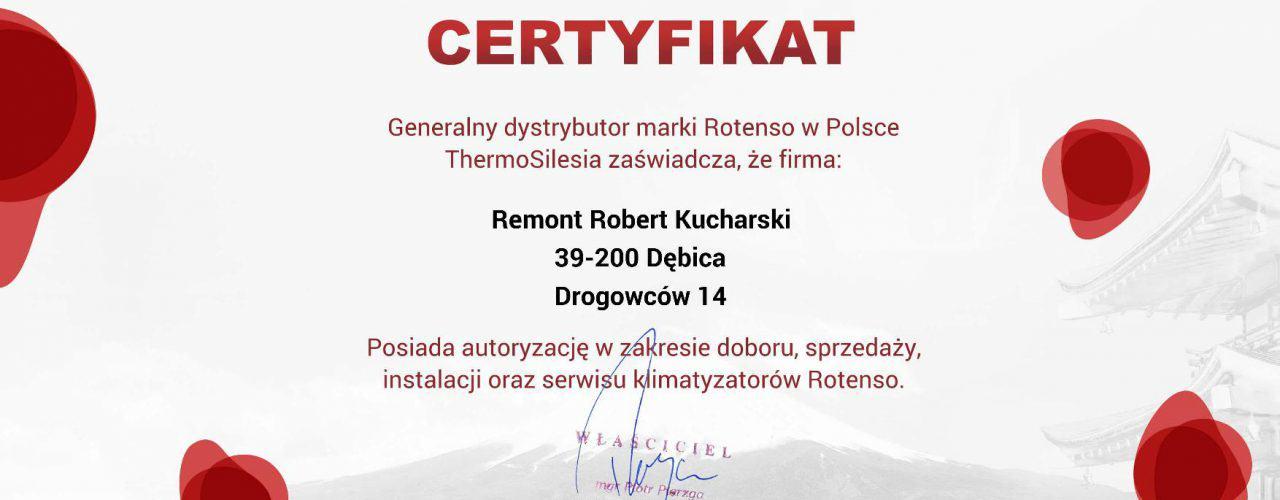 Certyfikat autoryzowanego dystrybutora ROTENSO - Remont Robert