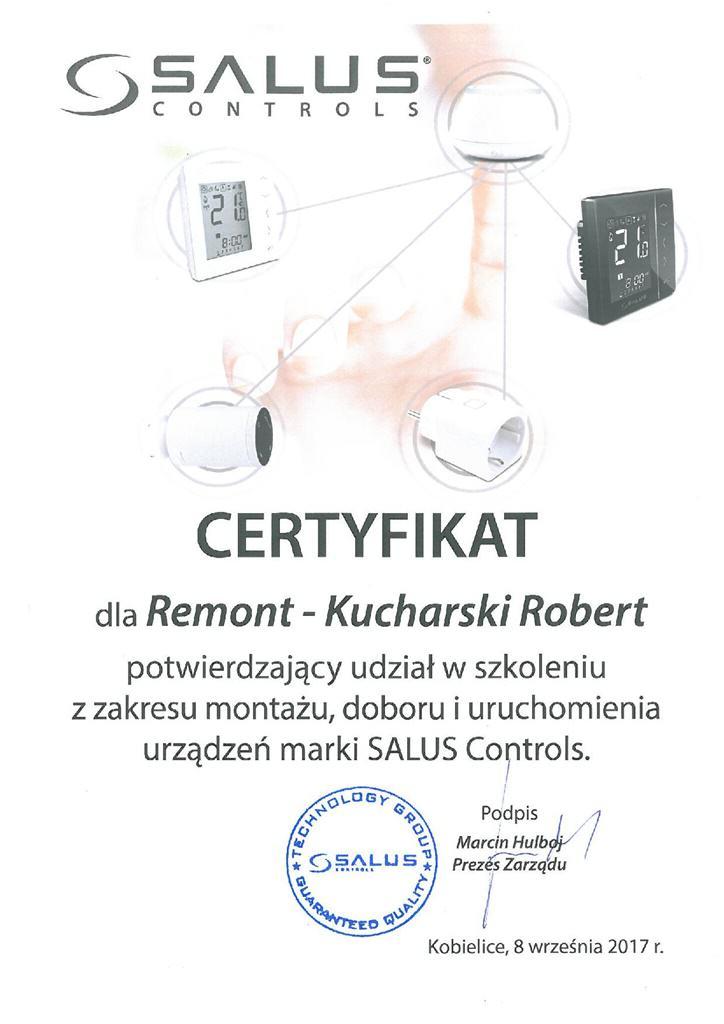 Salus controls - Certyfikat