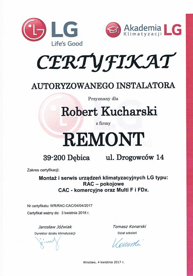 Certyfikat Autoryzowanego Instalatora LG