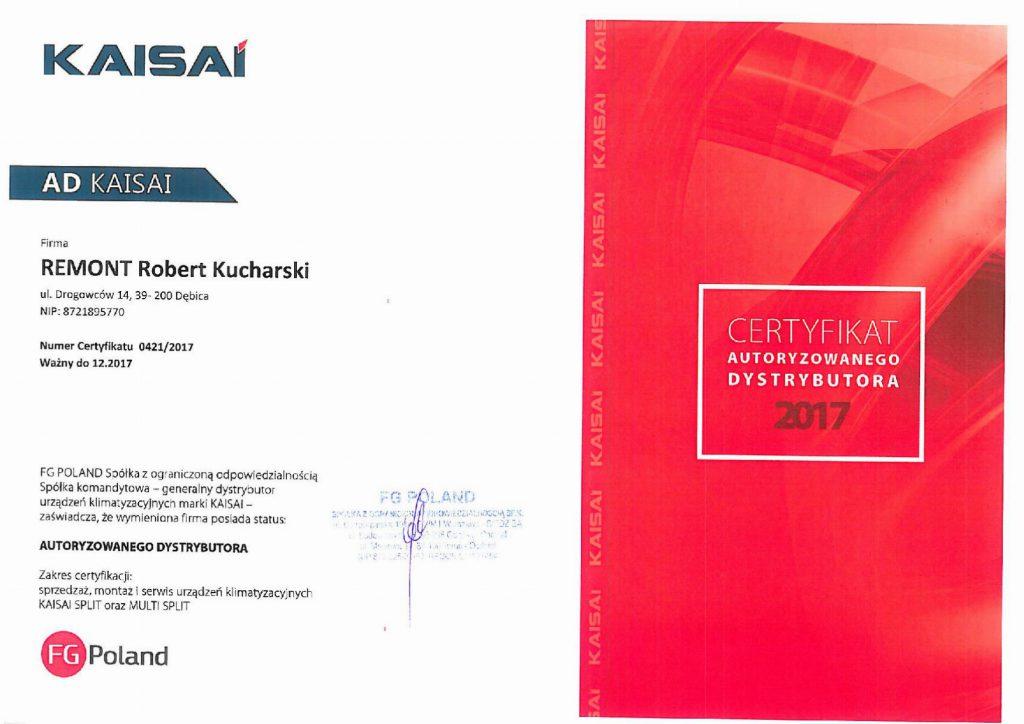 Certyfikat autoryzowanego dystrybutora KAISAI