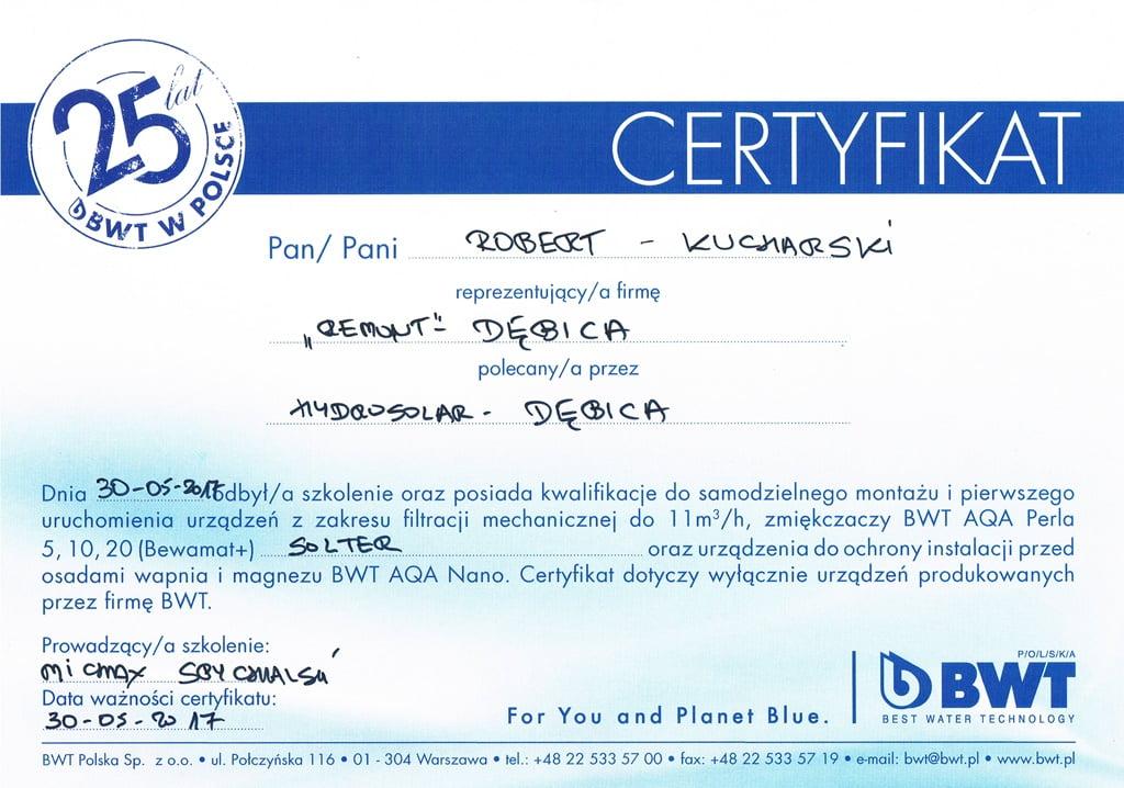 Certyfikat Zmiękczacze BWT AQA Perla