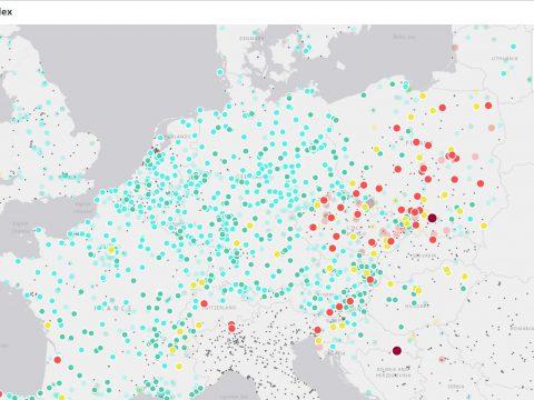 Interaktywna mapa jakości powietrza w Europie