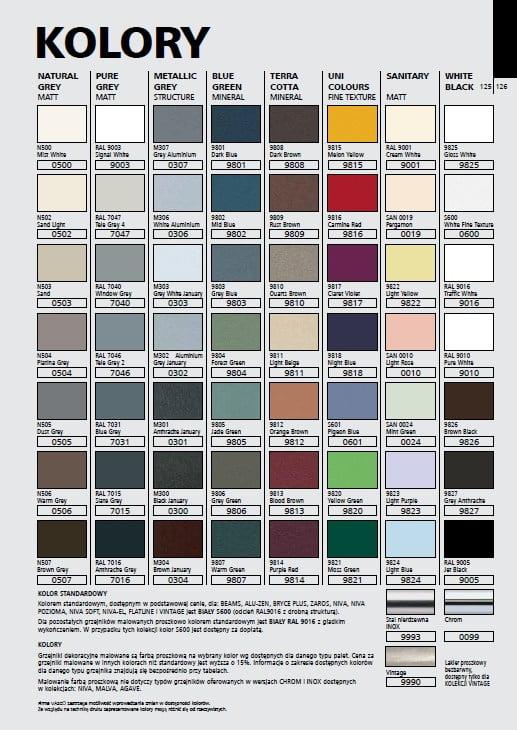 Kolory Grzejników dekoracyjnych Vasco