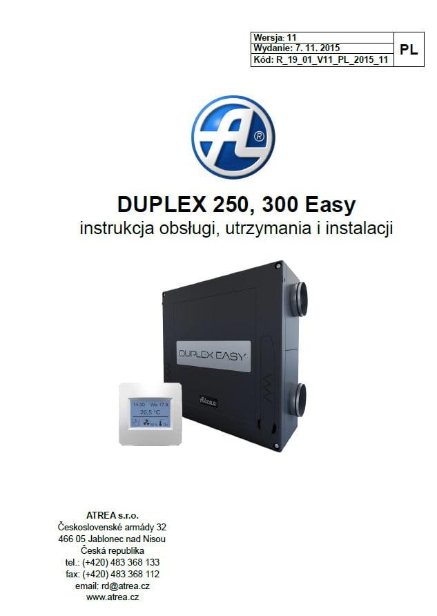 Duplex Easy - Instrukcja obsługi, utrzymania i instalacji