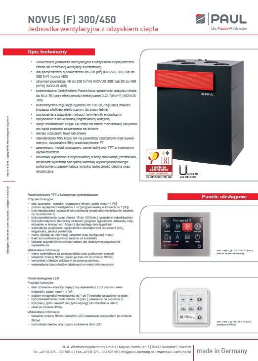 NOVUS (F) 300 450 PL - karta katalogowa