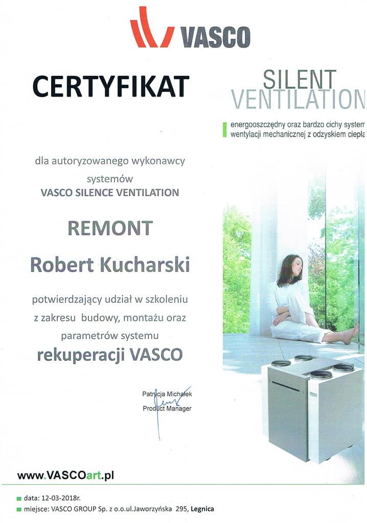 Certyfikat autoryzowanego wykonawcy rekuperacji Vasco