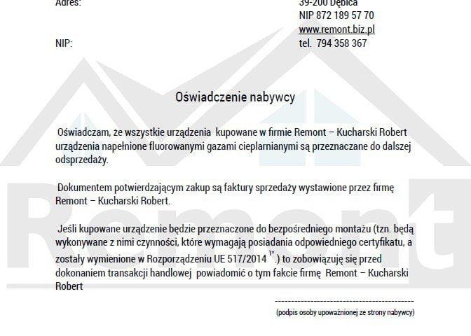 Sprzedaż klimatyzacji - oświadczenie firma ( F-gazy)