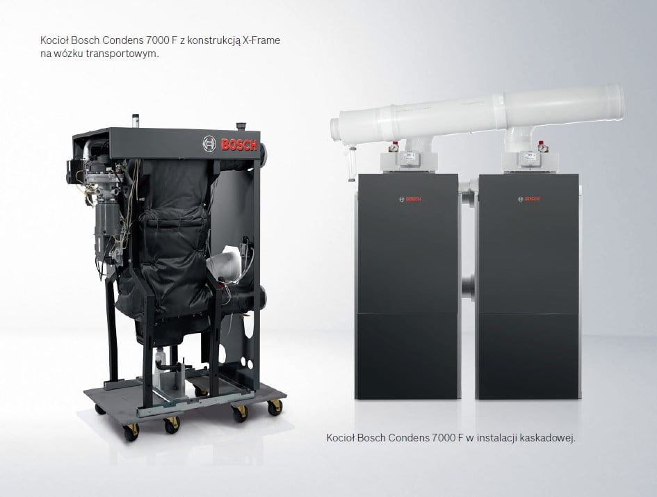 Junkers Bosch Condens 7000 F na wózku transportowym