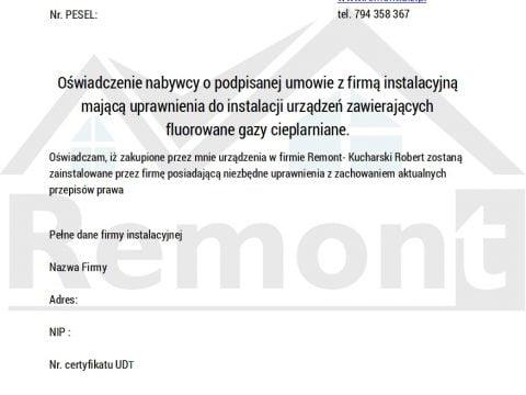 Sprzedaż klimatyzacji - oświadczenie osoba fizyczna ( F-gazy)