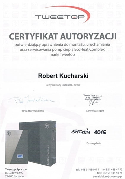 Certyfikat autoryzowanego instalatora Tweetop - m-min