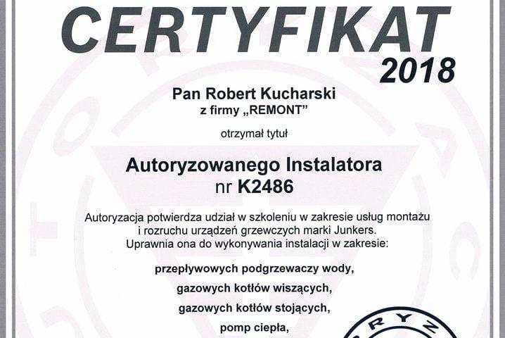 Certyfikat autoryzowanego instalatora marki Junkers Bosch