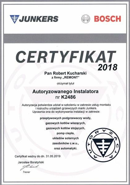 Certyfikat autoryzowanego instalatora marki Junkers Bosch - m-min