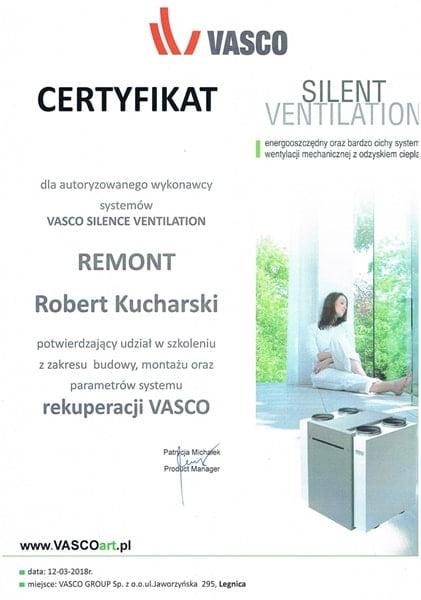 Certyfikat autoryzowanego wykonawcy rekuperacji Vasco - m-min