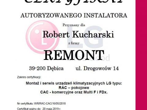 Certyfikat autoryzowany instalator klimatyzacji LG
