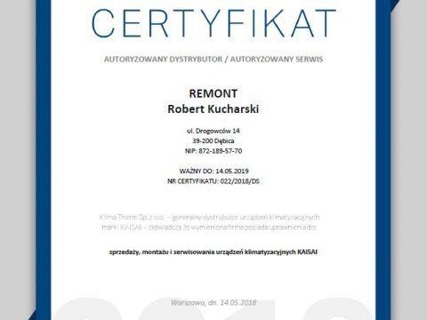 Klimatyzacja Kaisai 2018 - Certyfikat Autoryzowany dystrybutor - serwis