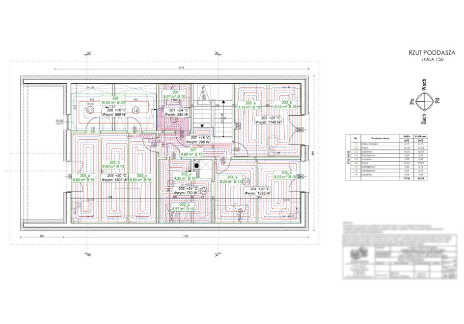 Przykładowy projekt ogrzewania podłogowego na poddaszu