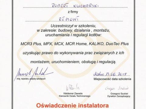 De Dietrich - świadectwo autoryzacji uruchamiania i regulacji kotłów MCR3 Plus, MPX, MCX, MCR Home, KALIKO, DuoTec Plus