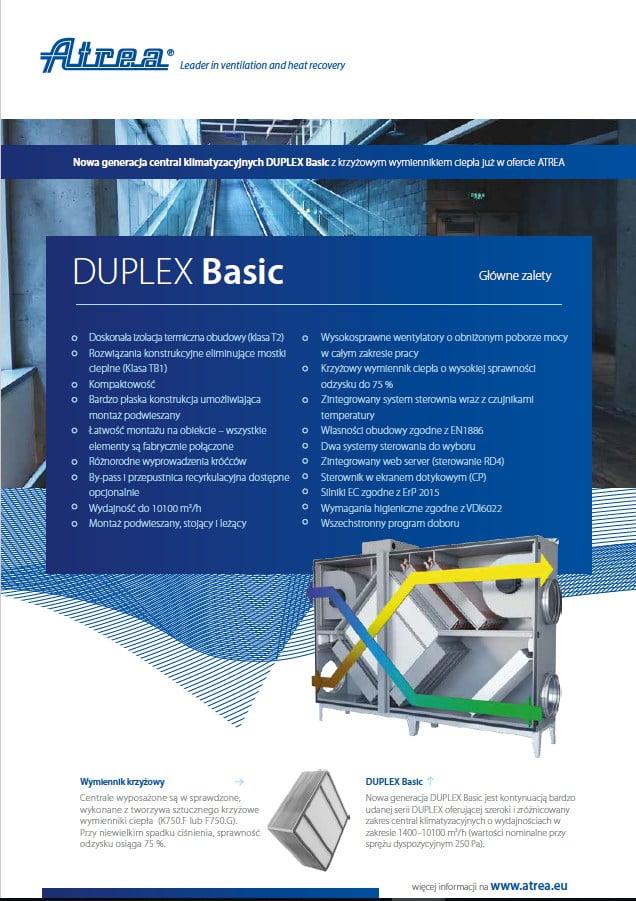 Nowa generacja central klimatyzacyjnych DUPLEX Basic z krzyzowym wymiennikiem ciepła
