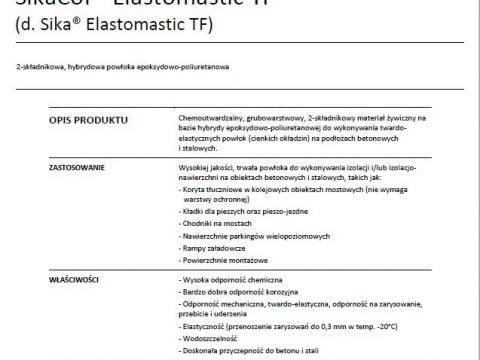 Sika Elastomastic TF - karta techniczna