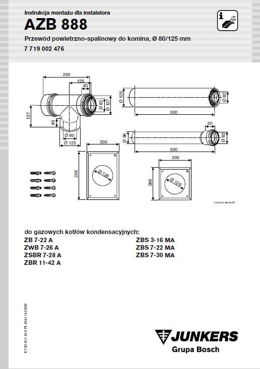 Azb 888 Zestaw Przewodu Powietrzno-Spalinowego Od Kotła Do Komina (Las) L 0.58M