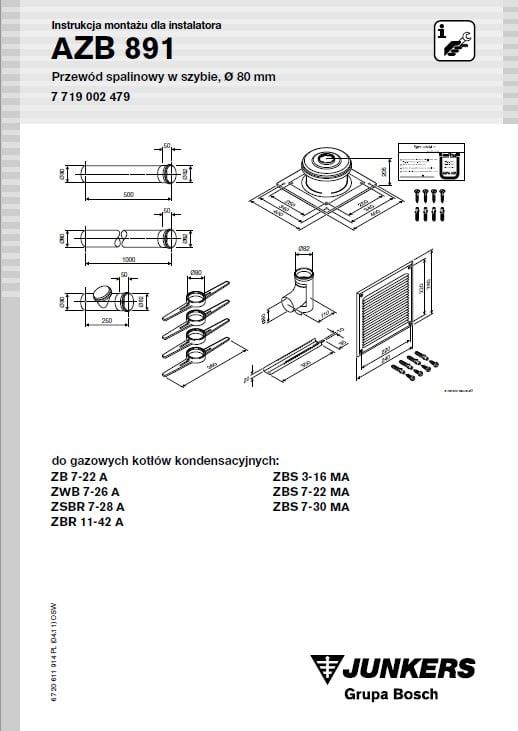 Azb 891 Zestaw Przewodu Spalinowego Ponad Dach 80 mm L 1.65 m