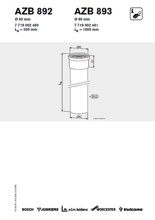 Azb 892 Przewód Powietrzny (Lub Spalinowy) 80 mm L 0.50 m