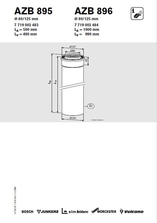 Azb 895 Przewód Powietrzno-Spalinowy 80-125 mm L 0.50 m