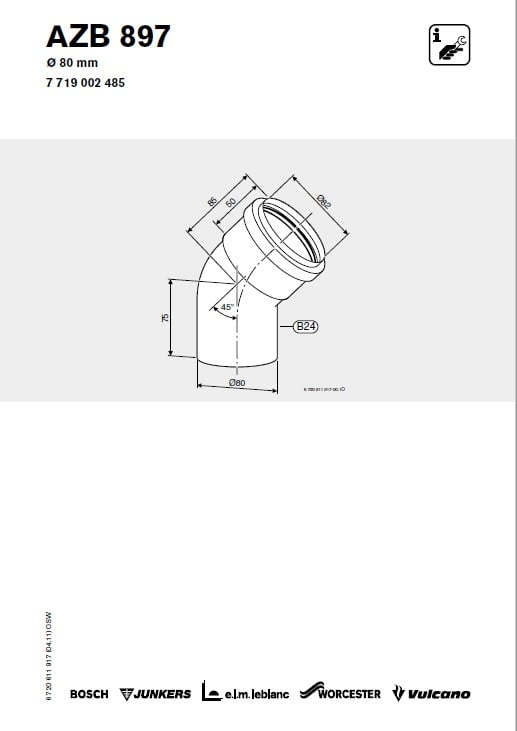 Azb 897 Kolano 45 80 mm 45 stopni