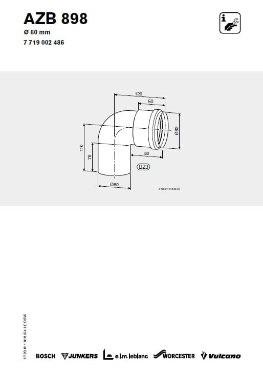 Azb 898 Kolano 80 mm 90 stopni