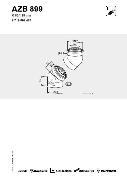 Azb 899 Kolano Powietrzno-Spalinowe 80-125 mm 45 stopni (×2)