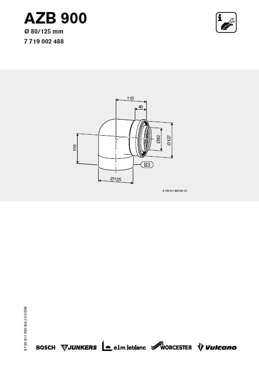 Azb 900 Kolano Powietrzno-Spalinowe 80/125 mm 90 stopni
