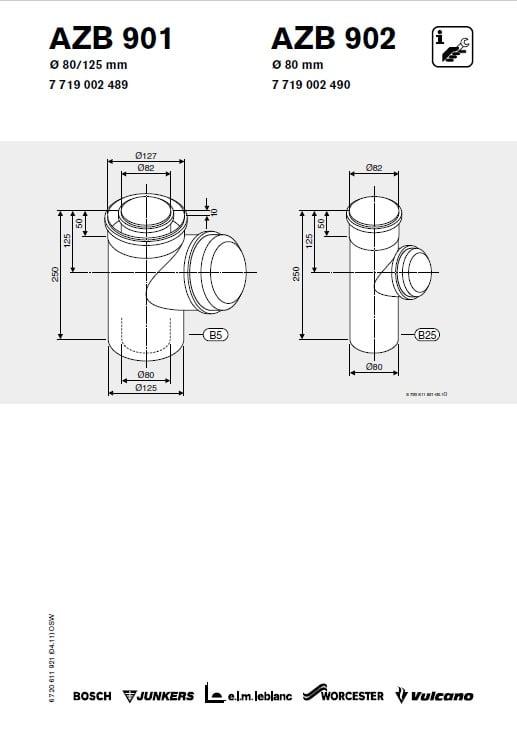 Azb 901 Rewizja Przewodu Powietrzno-Spalinowego 80/125 mm L 0.25 m