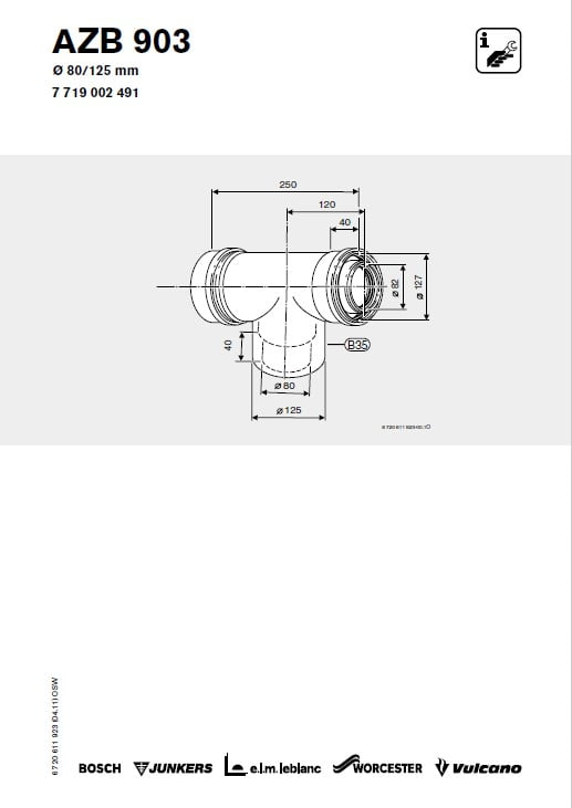 Azb 903 Trójnik Powietrzno-Spalinowy 80/125 mm 90 stopni Z Rewizją