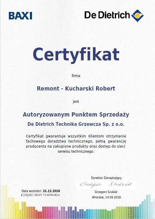 Certyfikat De Dietrich - Autoryzowany Punkt Sprzedaży