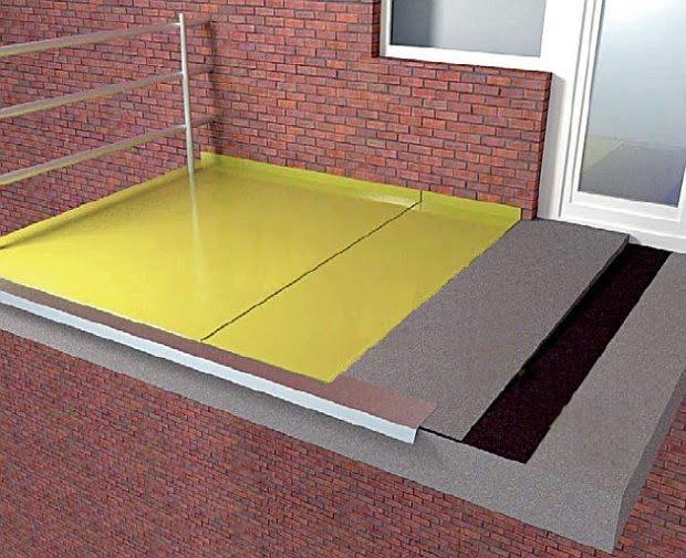 Warstwy balkonu z posadzka poliuretanowa bez plytek